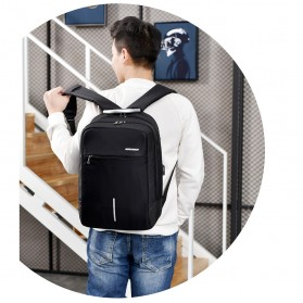 Axzhixing Tas Ransel Laptop Cross Border Security Lock dengan USB Charger Port - Black - 7