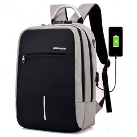Axzhixing Tas Ransel Laptop Cross Border Security Lock dengan USB Charger Port - Light Gray - 1