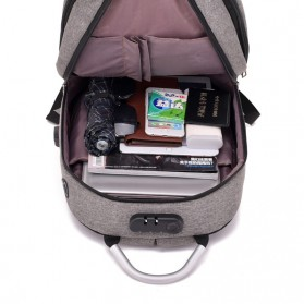Axzhixing Tas Ransel Laptop Cross Border Security Lock dengan USB Charger Port - Light Gray - 4