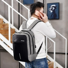 Axzhixing Tas Ransel Laptop Cross Border Security Lock dengan USB Charger Port - Light Gray - 5