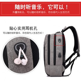 Axzhixing Tas Ransel Laptop Cross Border Security Lock dengan USB Charger Port - Light Gray - 6