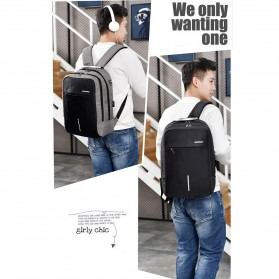 Axzhixing Tas Ransel Laptop Cross Border Security Lock dengan USB Charger Port - Light Gray - 7