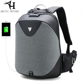 Arctic Hunter Tas Ransel Security Lock dengan USB Charger Port - B00208 - Dark Gray