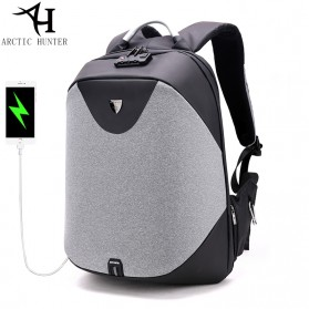 Arctic Hunter Tas Ransel Security Lock dengan USB Charger Port - B00208 - Light Gray