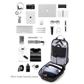 Arctic Hunter Tas Ransel USB Charger Port dengan Digital Storage Board - B00208 - Light Gray - 7