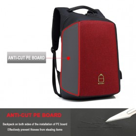 BAIBU Tas Ransel Anti Maling Coded Lock dengan USB Charger Port + AUX Port - ZL1960 - Black - 5