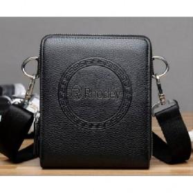 Rhodey Tas Selempang Pria Messenger Bag Bahan Kulit - HB-031 - Black