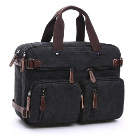 ZUOLUNDUO Tas Ransel Selempang 2 in 1 Bahan Canvas - 8691 - Black