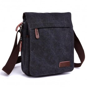 Trend Fashion Pria Terbaru - ZUOLUNDUO Tas Selempang Messenger Bag Bahan Canvas Size S - 8646 - Black