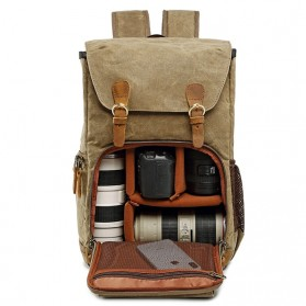 Advicho Tas Selempang Kamera DSLR Batik Canvas - AC-279 - Khaki