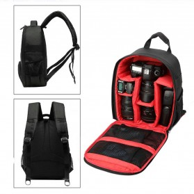 Tas Kamera SLR Camera DSLR Backpack for d7100 Small Compact with Pocket - Black/Red