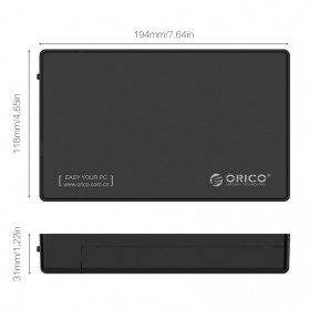 Orico 1-Bay 3.5 SATA USB Type C HDD Enclosure - 3588C3 - Black - 4