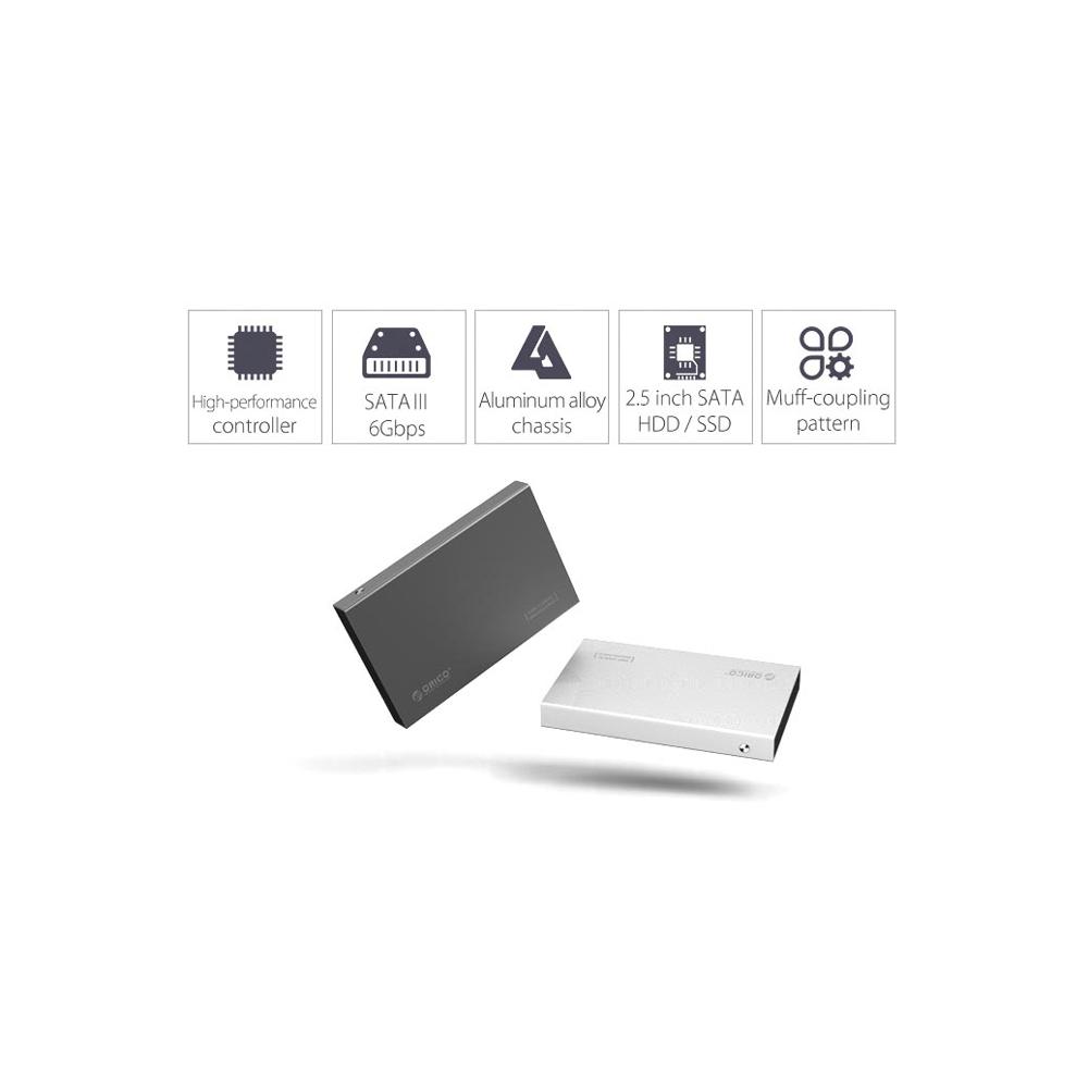 Orico 25 Hdd Enclosure Usb 30 2518s3 Gray Sata3 Aluminum Inch Hard Drive Silver 7