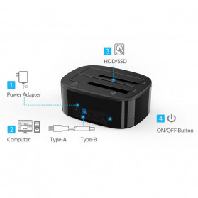 Orico HDD Docking 2 Bay USB 3.0 - 6228US3 - Black - 2