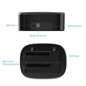 Orico HDD Docking 2 Bay USB 3.0 - 6228US3 - Black - 5