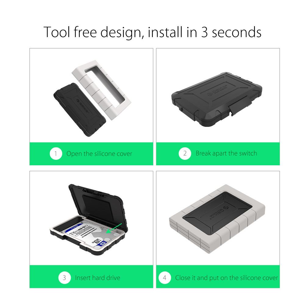 Orico Three Proofing Hdd Enclosure 25 Inch Usb Type C 2539c3 Phd Shockproof Case For 25inch Harddisk And Gadgets Black