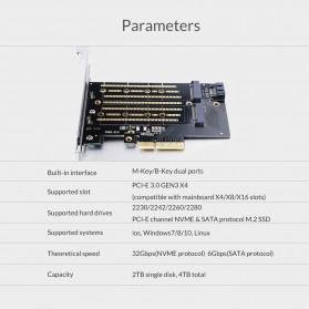 Orico 2 Slot M.2 NVME to PCI-E 3.0 X4 Expansion Card - PDM2 - Black - 3