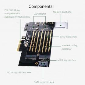 Orico 2 Slot M.2 NVME to PCI-E 3.0 X4 Expansion Card - PDM2 - Black - 9