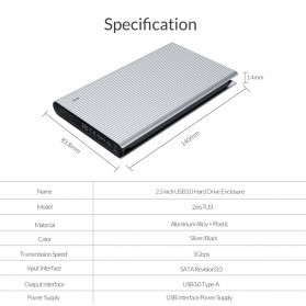 ORICO HDD SSD Enclosure 2.5 inch USB3.0 with Built-in Cable - 2667U3 - Silver - 9