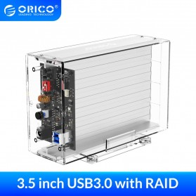 Orico 2-Bay External HDD Enclosure SATA USB 3.0 Support 24TB with RAID - 3259RU3 - Transparent