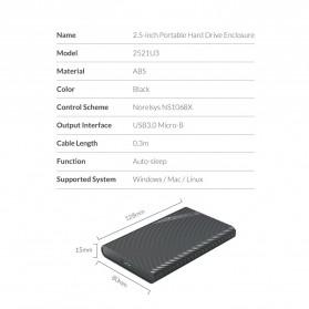 Orico 2.5 Inch External HDD Enclosure USB 3.0 - 2521U3 - Black - 11