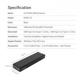 Orico Adaptor Enclosure NVMe M.2 SSD to USB 3.1 Type C - M2PV-C3 - Black - 10