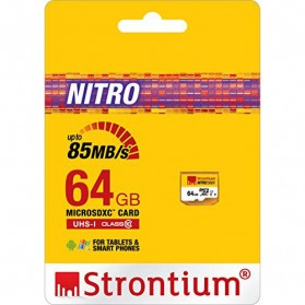Strontium Nitro 566X MicroSDXC UHS1 85MB/s Class 10 64GB - SRN64GTFU1R - 2