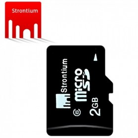 Strontium Basic MicroSDHC Class 6 2GB with SD Adapter - SR2GTFC6A - Black