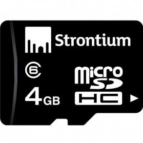 Strontium Basic MicroSDHC Class 6 4GB with SD Adapter - SR4GTFC6A - Black