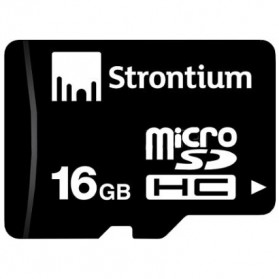 Strontium Basic MicroSDHC Class 10 16GB with SD Adapter - SR16GTFC10A - Black