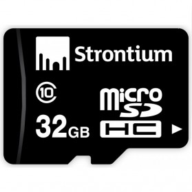 Strontium Basic MicroSDHC Class 10 32GB with SD Adapter - SR32GTFC10A - Black