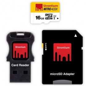 Strontium Nitro 433X MicroSDHC UHS-1 65MB/s Class 10 16GB with Adapter and Card Reader - SRN16GTFU1C