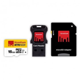 Strontium Nitro 433X MicroSDHC UHS-1 65MB/s Class 10 16GB with Adapter and Card Reader - SRN16GTFU1C - 2