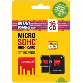 Strontium Nitro 433X MicroSDHC UHS-1 65MB/s Class 10 16GB with Adapter and Card Reader - SRN16GTFU1C - 4