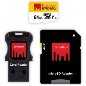 Strontium Nitro 566X MicroSDXC UHS-1 85MB/s Class 10 64GB with Adapter and Card Reader - SRN64GTFU1C