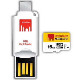 Strontium Nitro 433X MicroSDHC UHS-1 65MB/s Class 10 16GB with OTG Card Reader - SRN16GTFU1T - 1