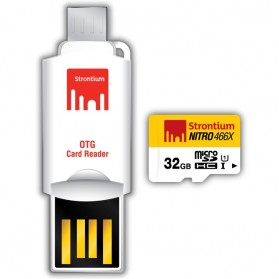 Strontium Nitro 466X MicroSDHC UHS-1 70MB/s Class 10 32GB with OTG Card Reader - SRN32GTFU1T