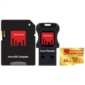 Strontium Nitro Plus 4K MicroSDXC UHS-1 U3 64GB with Adapter and Card Reader - SRP64GTFU1C - Golden