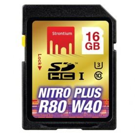 Strontium Nitro Plus 4K SDHC UHS-1 U3 Class 10 16GB - SRP16GSDU1 - Black