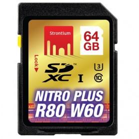 Strontium Nitro Plus 4K SDXC UHS-1 U3 Class 10 64GB - SRP64GSDU1 - Black