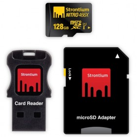 Strontium Nitro 466X MicroSDXC UHS-1 70MB/s Class 10 128GB with Adapter and Card Reader - SRN128GTFU1C