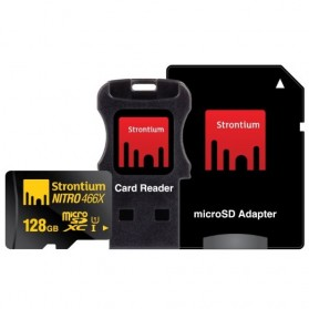 Strontium Nitro 466X MicroSDXC UHS-1 70MB/s Class 10 128GB with Adapter and Card Reader - SRN128GTFU1C - 2