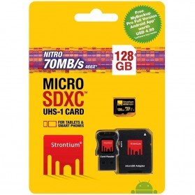 Strontium Nitro 466X MicroSDXC UHS-1 70MB/s Class 10 128GB with Adapter and Card Reader - SRN128GTFU1C - 5