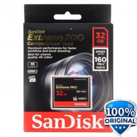 SanDisk Extreme PRO Compact Flash Card (160MB/s) 32GB - SDCFXPS-032G-X46 - Black
