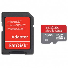 SanDisk Ultra microSDHC Card UHS-I Class 10 (48MB/s) 16GB with SD Card Adapter - SDSDQUA-016G - 1