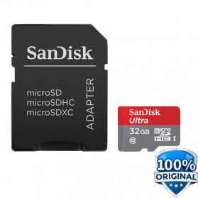 SanDisk Ultra microSDXC Card UHS-I Class 10 (80MB/s) 32GB with SD Card Adapter - SDSQUNC-032G