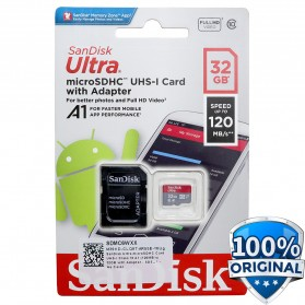 SanDisk Ultra microSDHC Card UHS-I Class 10 A1 (120MB/s) 32GB with Adaptor - SDSQUA4-032G-GN6MA