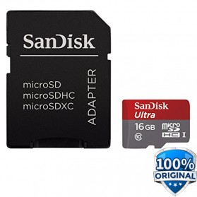 SanDisk Ultra microSDHC Card UHS-I Class 10 (48MB/s) 16GB with SD Card Adapter - SDSDQUA/SDSDQUAN-016G