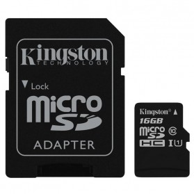 Kingston microSDHC High Capacity Micro Secure Digital Card UHS-I Class 10 (45MB/s) 16GB - SDC10G2/16GB