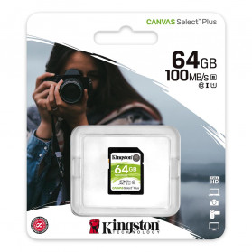 Kingston Canvas Select Plus SDXC Card UHS-I Class 10 V30 (100MB/s) 64GB - SDS2 - 3